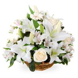 White flower basket flowers fast flowers this white flower filled basket is a fantastic floral gift perfect to show mum you love her or great as a romantic gift to that special someone mightylinksfo