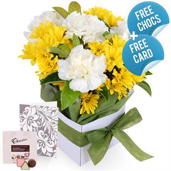 Cute Box Yellow with Chocs and Card Flowers